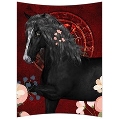 Awesmoe Black Horse With Flowers On Red Background Back Support Cushion