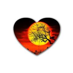 Halloween Landscape Rubber Coaster (heart)