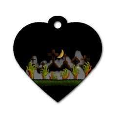 Halloween Zombie Hands Dog Tag Heart (two Sides)