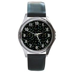 Splatter Abstract Dark Pattern Round Metal Watch