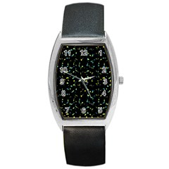 Splatter Abstract Dark Pattern Barrel Style Metal Watch
