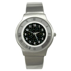 Splatter Abstract Dark Pattern Stainless Steel Watch