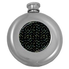 Splatter Abstract Dark Pattern Round Hip Flask (5 Oz)