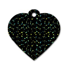 Splatter Abstract Dark Pattern Dog Tag Heart (two Sides)