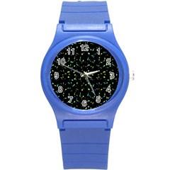 Splatter Abstract Dark Pattern Round Plastic Sport Watch (s)