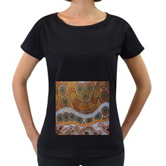 Aboriginal Traditional Pattern Women s Loose Fit T Shirt (black)