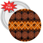 Traditiona  Patterns And African Patterns 3  Buttons (10 pack)  Front