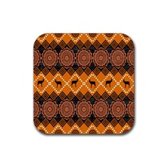 Traditiona  Patterns And African Patterns Rubber Coaster (square)