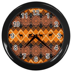 Traditiona  Patterns And African Patterns Wall Clocks (black)