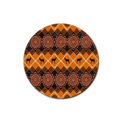 Traditiona  Patterns And African Patterns Rubber Coaster (round)