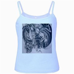 Chinese Dragon Tattoo Baby Blue Spaghetti Tank