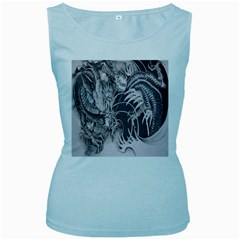 Chinese Dragon Tattoo Women s Baby Blue Tank Top