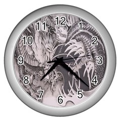 Chinese Dragon Tattoo Wall Clocks (silver)