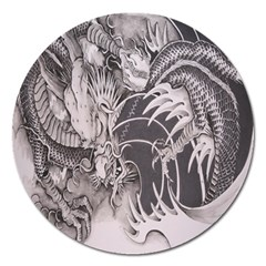 Chinese Dragon Tattoo Magnet 5  (round)