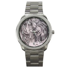Chinese Dragon Tattoo Sport Metal Watch