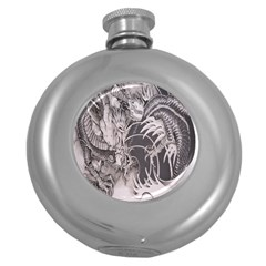 Chinese Dragon Tattoo Round Hip Flask (5 Oz)