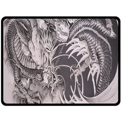 Chinese Dragon Tattoo Fleece Blanket (large)