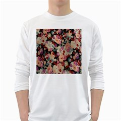 Japanese Ethnic Pattern White Long Sleeve T Shirts