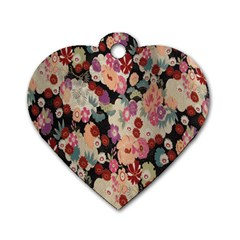 Japanese Ethnic Pattern Dog Tag Heart (two Sides)