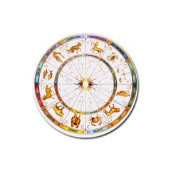 Zodiac  Institute Of Vedic Astrology Rubber Round Coaster (4 Pack)