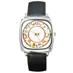 Zodiac  Institute Of Vedic Astrology Square Metal Watch