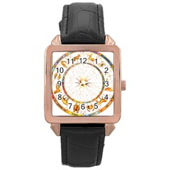 Zodiac  Institute Of Vedic Astrology Rose Gold Leather Watch