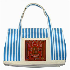 Frog Pattern Striped Blue Tote Bag