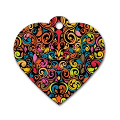 Art Traditional Pattern Dog Tag Heart (one Side)