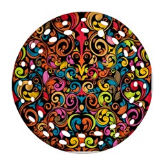 Art Traditional Pattern Round Filigree Ornament (two Sides)