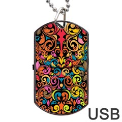 Art Traditional Pattern Dog Tag Usb Flash (two Sides)