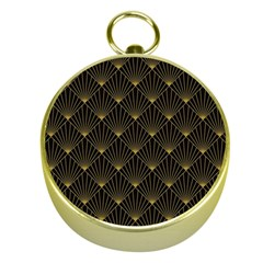Abstract Stripes Pattern Gold Compasses