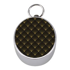 Abstract Stripes Pattern Mini Silver Compasses