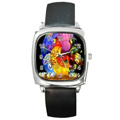 Chinese Zodiac Signs Square Metal Watch