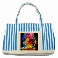 Chinese Zodiac Signs Striped Blue Tote Bag