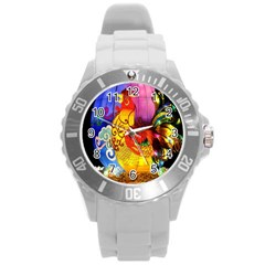 Chinese Zodiac Signs Round Plastic Sport Watch (l)