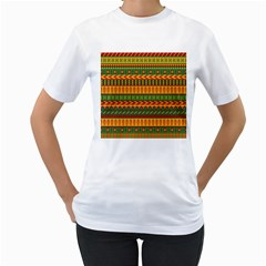 Mexican Pattern Women s T Shirt (white) (two Sided)