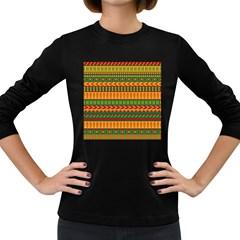 Mexican Pattern Women s Long Sleeve Dark T Shirts