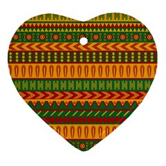 Mexican Pattern Heart Ornament (two Sides)