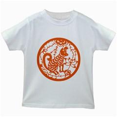 Chinese Zodiac Dog Kids White T Shirts