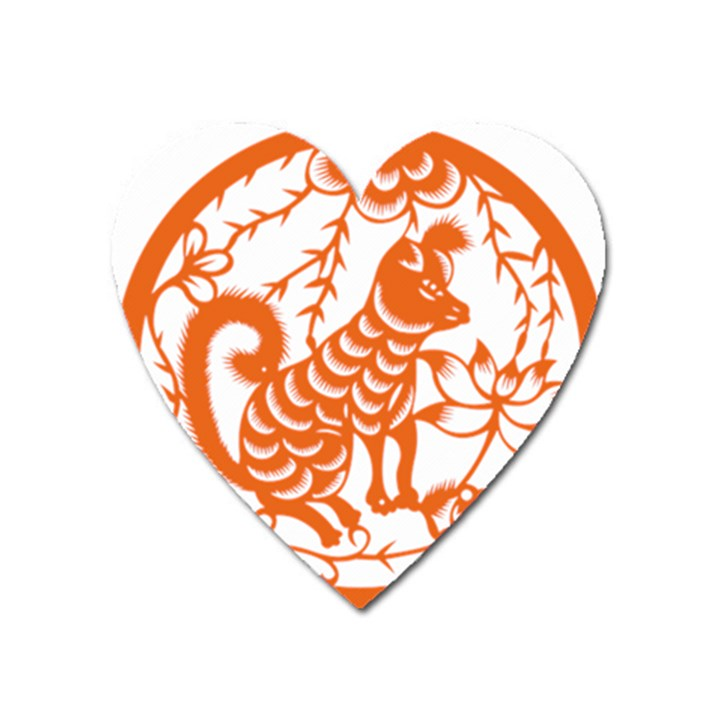 Chinese Zodiac Dog Heart Magnet