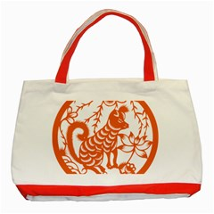 Chinese Zodiac Dog Classic Tote Bag (red)