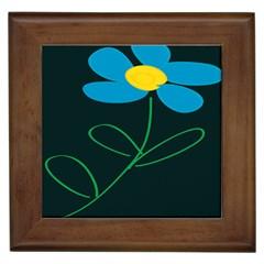 Whimsical Blue Flower Green Sexy Framed Tiles