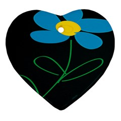 Whimsical Blue Flower Green Sexy Ornament (heart)