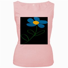 Whimsical Blue Flower Green Sexy Women s Pink Tank Top