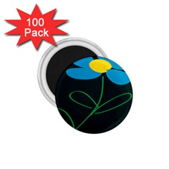 Whimsical Blue Flower Green Sexy 1 75  Magnets (100 Pack)
