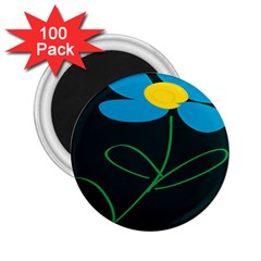 Whimsical Blue Flower Green Sexy 2 25  Magnets (100 Pack)