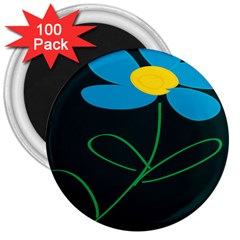 Whimsical Blue Flower Green Sexy 3  Magnets (100 Pack)