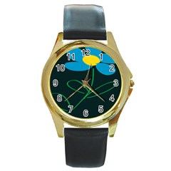 Whimsical Blue Flower Green Sexy Round Gold Metal Watch