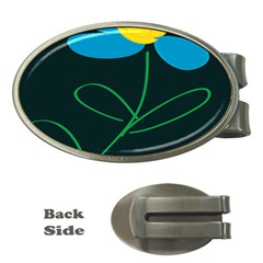 Whimsical Blue Flower Green Sexy Money Clips (oval)