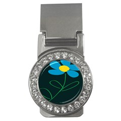 Whimsical Blue Flower Green Sexy Money Clips (cz)